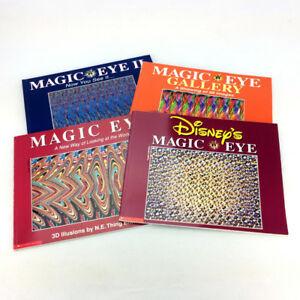 4 Magic Eye Books 1 2 Disney Gallery Set 3D Picture Illusions