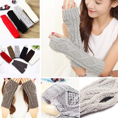 Women Mens Knit Crochet Long Fingerless Winter Gloves Arm Warmer Mitten - Womens Fingerless Gloves
