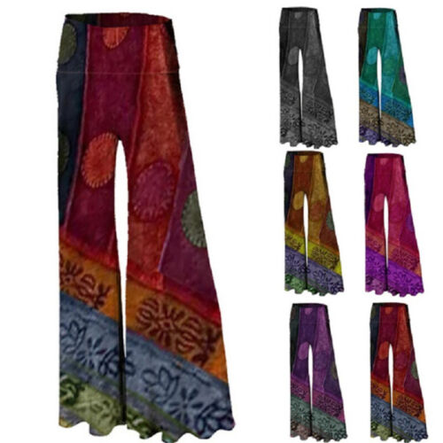 Women Folk Wide Leg Floral Printing Long Pants Soft Casual Waist High Trousers Clothing, Shoes & Accessories