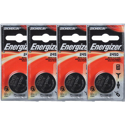 4 Pcs Energizer CR2450 ECR2450 CR 2450 3V Lithium Coin Cell Button Battery