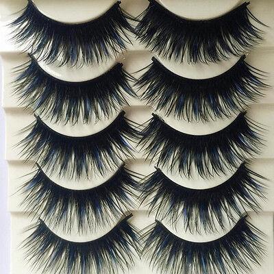 5 Pairs Blue+Black Long Thick Cross False Eyelashes Handmade eye lashes CA@LY (Blue Eyelashes)