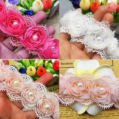10pcs Vintage Flower Pearl Lace Trim Wedding Bridal Dress Ribbon Applique Sewing Pearl Trim