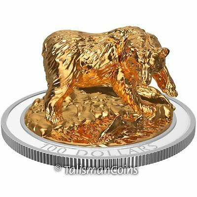 Canada 2017 Sculpture Majestic Animals #1 Grizzly Bear $100 10 Oz Silver Proof