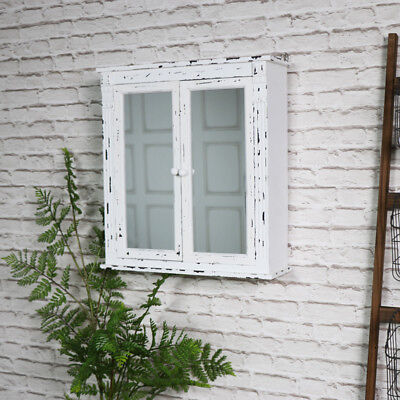 White mirrored bathroom cabinet shelving storage vintage shabby chic shelves