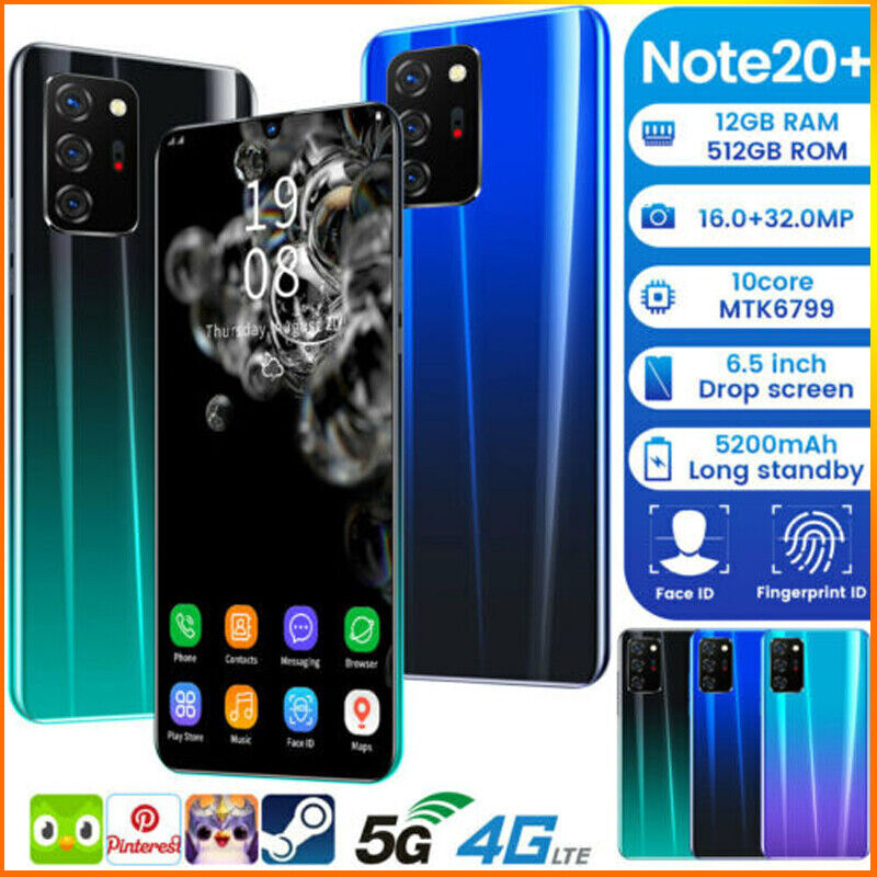 Android Phone - Android Note 20+ Unlocked Cheap Mobile Smart Phone 10 Core Dual WiFi 5G GPS UK