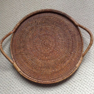 NEW RATTAN SERVING TRAY