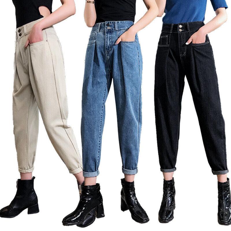 2019 Women High-waist Blue Denim Harem Pant for Junior Girl