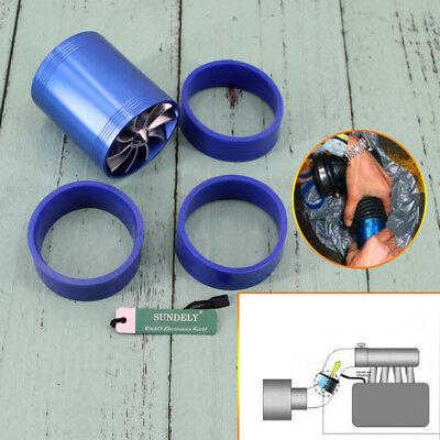Supercharger Power Air Intake Turbonator Dual Fan Turbine Turbo Gas Fuel Saver