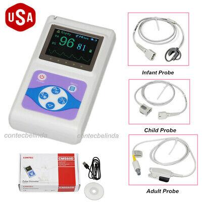 Contec Handheld Oled Finger Pulse Oximeteradultchildneonatal 3 Probes Newest