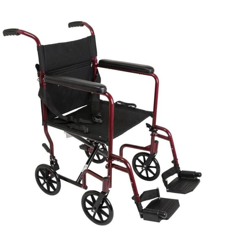 Aluminum Lightweight Transport Chair ''Burgundy, 1 Count''