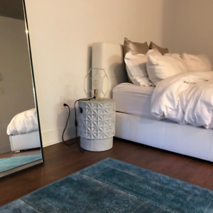 Minimalist furnished condo monthly rental Griffintown