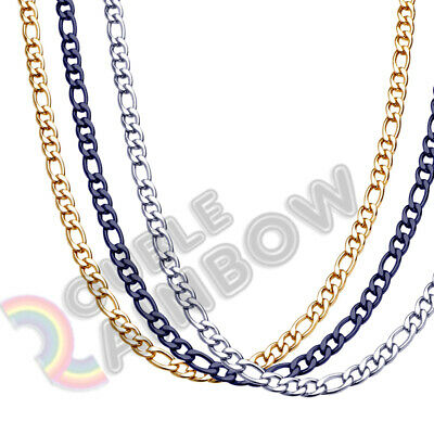 Black Chains (Men Women Figaro Necklace Chain Stainless Steel Gold/Silver/Black 3mm-12mm)