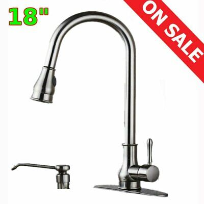 Brushed Nickel Kitchen Sink Faucet Pull Down Sprayer w/ 10