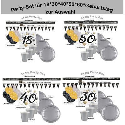 18./30./40./50./60. Geburtstag Party-Set zur Auswahl Farben schwarz/gold/silber ()