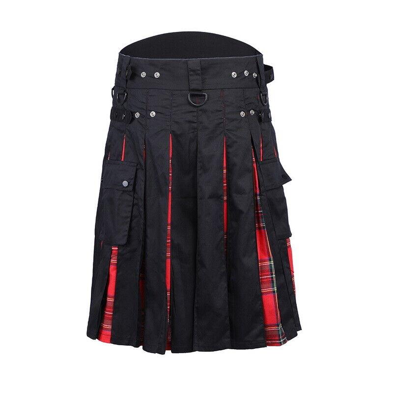 USA New Men's 5 Yard Scottish Kilts Tartan Kilt 13oz Highland Casual Kilt Red