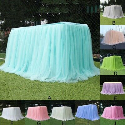 Table Skirts For Wedding (Multi Color Tulle Tutu Table Skirt for Wedding Party Xmas Baby shower)