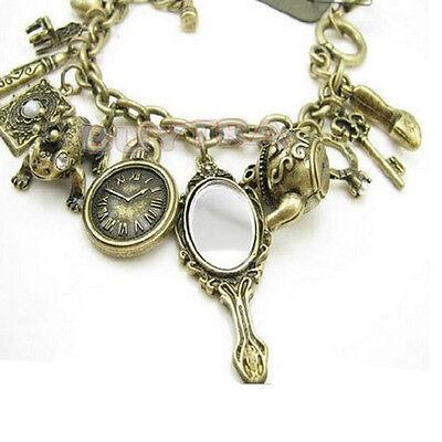 Teekanne Frosch Uhr Wunderland Armband Stilvolle Bronze Charms Mirror XJ