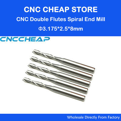 10pcs Two Flute End Mill Cnc Router Milling Bits For Wood Tool 3.175 2.5mm 8mm