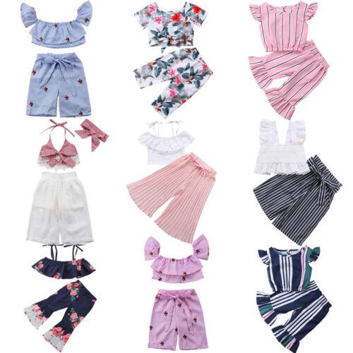 Fashion Newborn Toddler Baby Girl Crop Top T-shirt Long Pant