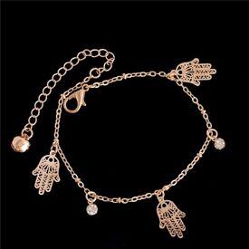 Hamsa Gold Chain Anklet