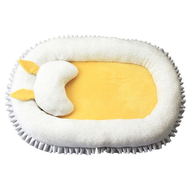 Baby Bassinet Bed Portable Baby Cotton Lounger Newborn Crib Sleep Nest w/ Pillow