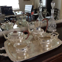 Silver service /candlesticks - beautiful!!!  Crystal decanters.