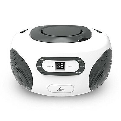 Lava Boombox Portable CD Player Black White With FM AM Radio With MP3 Playback