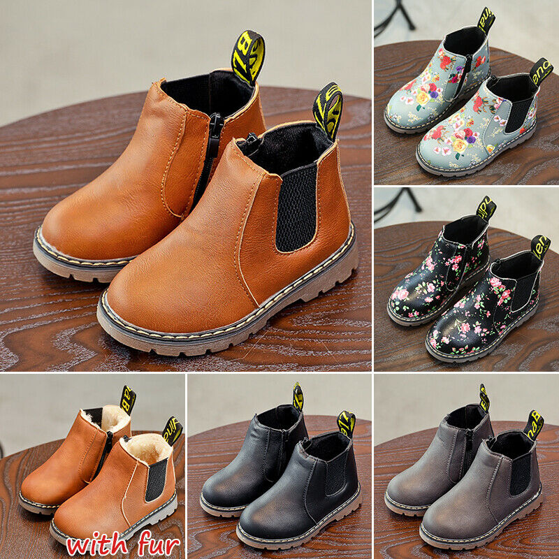Kids Ankle Boots Boys Girls Winter Warm Floral Fur Lined Martin Chelsea Shoes