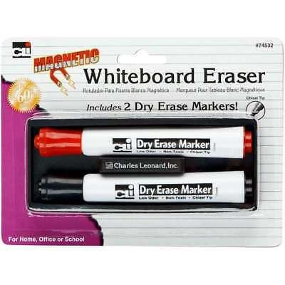 Charles Leonard Inc. 74532 Magnetic Whiteboard Eraser With 2 Dry Erase Markers (Charles Leonard Markers)