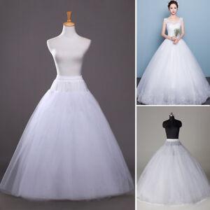 White Hoopless Petticoat A Line Underskirt Slip Crinoline Prom Wedding Dress US