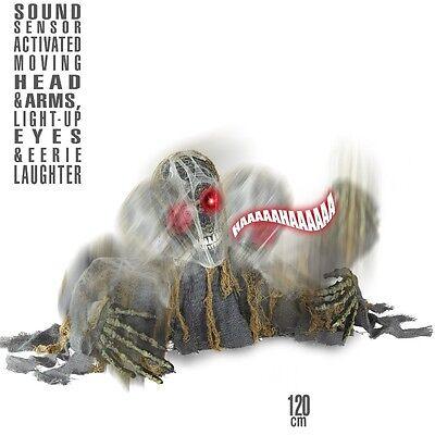 Figur ZOMBIE SKELETT mit Sound 120 cm animiert - Animierte Halloween Skelett