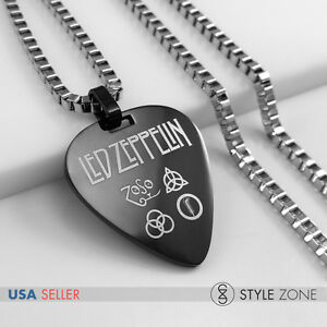 MEN Stainless Steel Led Zeppelin Guitar Pick Music Band Pendant Box Necklace 14A