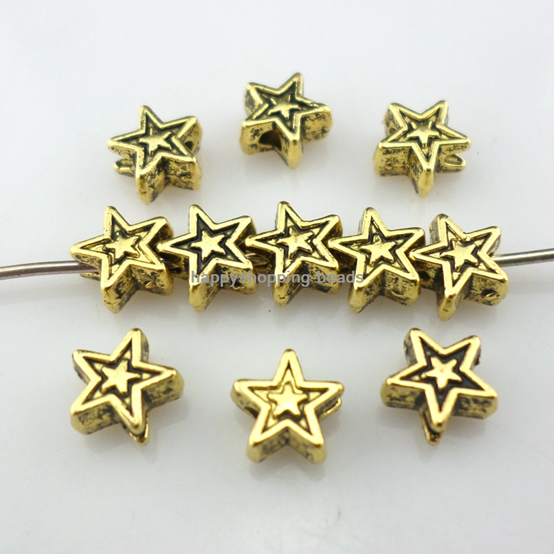 60//180Pcs Ancient gold//Silver Star Charms Loose Spacer Beads Crafts 6x3mm