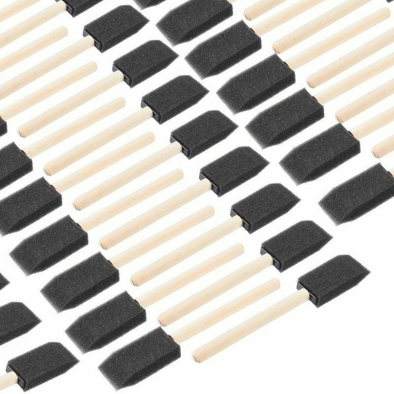 """120-Pack 1"""" Foam Sponge Paint Brush with Wood Handles Craft Touch Up Stain"""
