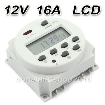 Programmierbar Zeitschaltuhr Digitale DC/AC 12V 16A LCD Timer Schalter Zeit DE