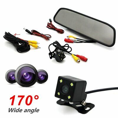"""4.3"""" LCD Car Rear View Backup Mirror Monitor+ Reverse Camera Cam System"""