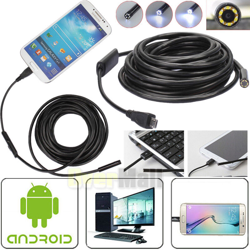 3.5/5M 7mm Android Endoscope Waterproof Borescope USB Inspection Camera 6 LED