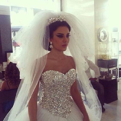 Prinzessin Weiß Elfenbein Kristall Brautkleid Hochzeitskleid 32 34 36 38 40 42+  (Kristall Hochzeit Kleid)