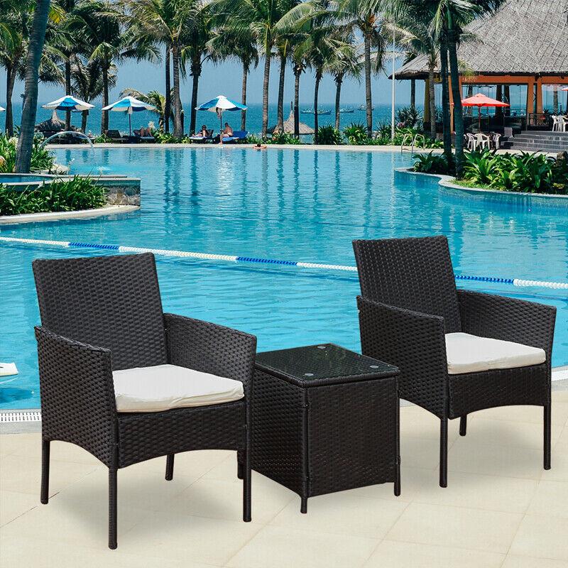 Garden Furniture - 3Pcs Rattan Garden Patio Furniture Set Outdoor Table Chairs Conservatory Bistro