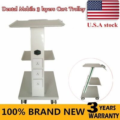 Hospital Medical 3 Layers Cart Trolley Steel For Dental Equipment All Purpose