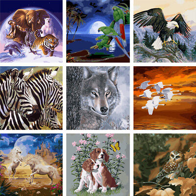 New Cute Animals DIY Paint By Number Kit Digital Soil Painting Art Decor On Wall