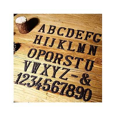 House Door Alphabet Letters and Numbers Signs Cast Wrought Iron Black Antique House Door Signs