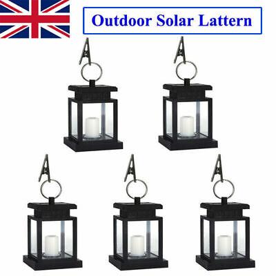5Pcs Solar LED Candle Hanging Lights Outdoor Lantern Waterproof Yard Garden Lamp