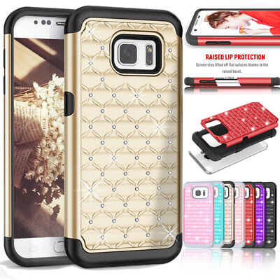 For Samsung Galaxy S7 /S7 Edge G935 Bling Hybrid Hard Rubber Silicone Case