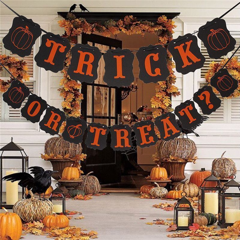 Halloween TRICK or TREAT Silhouette String Banner
