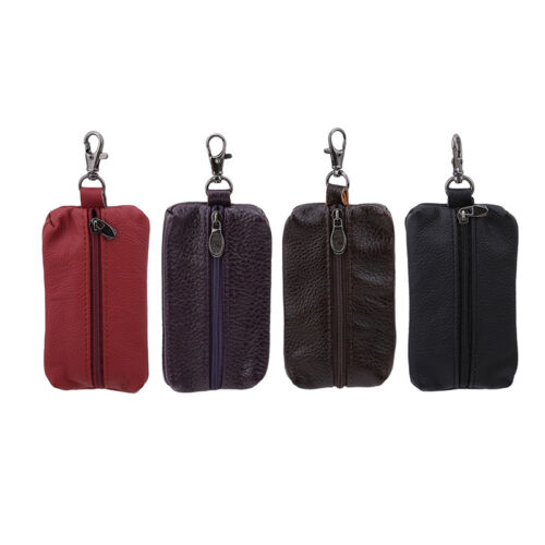 Details about Men Women Soft Leather Key Holder Case Keychain Pouch Bag  Wallet Key Ring Purse da42bfe66f