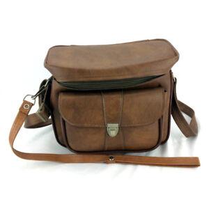 Vintage Camera Case Large Brown Leather Hard Frame Hipster Cross