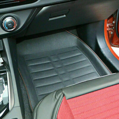 5PCS ESSGOO Deep Dish All Weather Leather Floor Mats for Car SUVs Trucks - Black