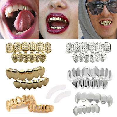 14K Gold Plated Teeth Joker Grillz Top & Bottom Grill Set Halloween High Quality