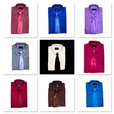 Dress Shirt Boys (Toddler & Boys Long Sleeve Dress Shirt with Tie Set, New, 25 Colors (Size)